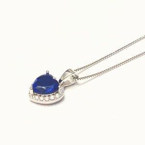 Cubic Zirconia & Sterling Silver Heart Necklace